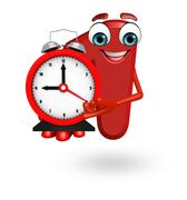 Cartoon character of one digit with clock Stock Illustration