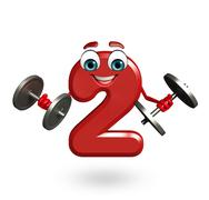Stock Illustration of cartoon character of two digit with weights