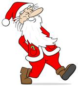 santa claus takes a walk - stock illustration
