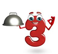 Stock Illustration of cartoon character of three digit with pan