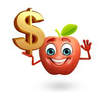 Cartoon character of apple fruit with dollar sign Stock Illustration