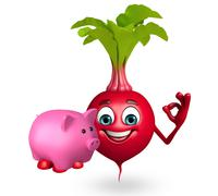 Cartoon character of beet root with piggy bank Stock Illustration