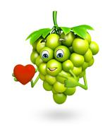 Cartoon character of grapes with heart Stock Illustration