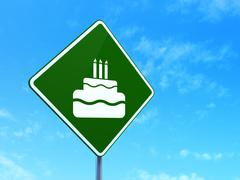 Stock Illustration of Entertainment, concept: Cake on road sign background