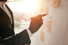 Businessman putting his ideas in white board Stock Photos
