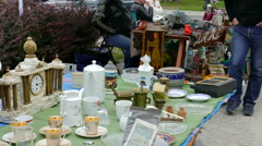 Open air Flea Market  Stock Footage