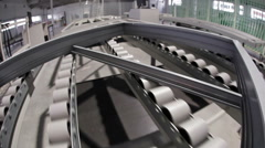 Window frame on conveyor belt Stock Footage