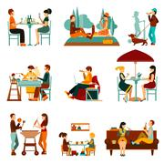 Eating People Icons Set Stock Illustration
