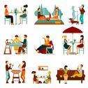 Stock Illustration of Eating People Icons Set