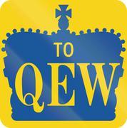 Queen Elisabeth Way Direction Shield In Ontario - stock illustration