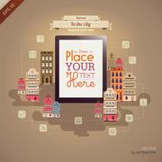 Tablet with retro city background - stock illustration