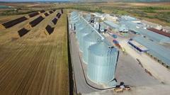 Aerial view of big grain elevators Stock Footage