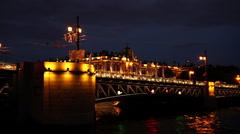 Stock Video Footage of Bridge at night. Eastern Europe