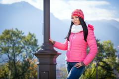 Young woman posing outdoor in autumn Stock Photos