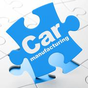 Industry concept: Car Manufacturing on puzzle background Piirros