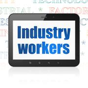 Industry concept: Tablet Computer with Industry Workers on display Stock Illustration
