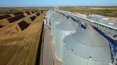 Aerial view of big grain elevators Stock Footage