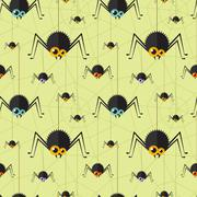 Vector halloween spider seamless background - stock illustration