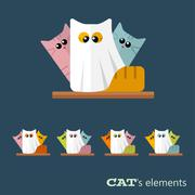 Vector cats elements - stock illustration