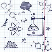 Vector Hand draw chemistry elements - stock illustration