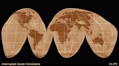 Animated world map in the Goode projection. Gradient. Stock Footage