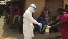 Ebola Body Recovery Team Swab Sample Stock Footage