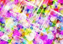 Bokeh background of Sparkling Round Shapes in Chaotic Arrangement - stock illustration