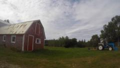 Timelapse pan of Canadian Barn in rural Cape Breton Stock Footage