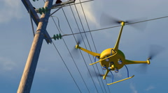 UAV drone inspecting electrical transmission wires, 3D animation Stock Footage
