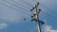 UAV drone inspecting electrical transmission wires, 3D animation - stock footage