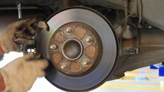 Car brake maintenance Stock Footage