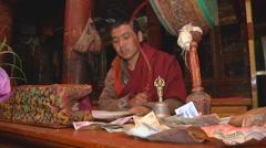 Buddhist Monk Chanting Mantras Stock Footage