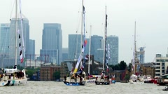Clippers on the river Thames in London - stock footage