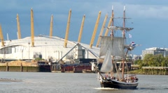 Historic tall sailboat on the river Thames Stock Footage