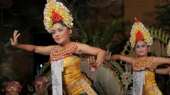 Traditional balinese legong dance by woman,Ubud,Bali,Indonesia Stock Footage