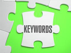 Keywords - Jigsaw Puzzle with Missing Pieces - stock illustration