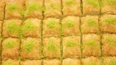 Turkish dessert - baklava, ready to sell at restaurant Stock Footage