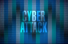 cyber attack binary sign concept - stock illustration