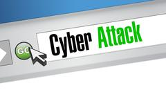 cyber attack online browser sign concept - stock illustration