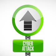 cyber attack arrow sign concept - stock illustration