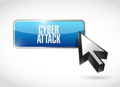 Stock Illustration of cyber attack button sign concept