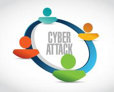 cyber attack avatar network sign concept - stock illustration