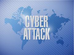 cyber attack world map sign concept - stock illustration
