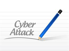 cyber attack message sign concept - stock illustration