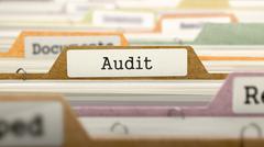Audit Concept. Folders in Catalog Stock Illustration