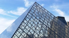 Paris, the Louvre and the pyramide Stock Footage