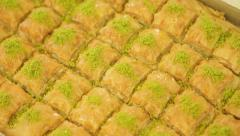 Turkish dessert - baklava, ready to sell at restauran Stock Footage