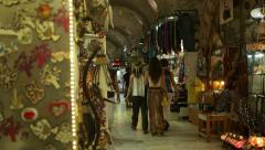 People walking and shopping at Grand bazaar of Izmir Stock Footage