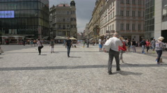 Making big water bubbles in Wenceslas Square, Prague Stock Footage