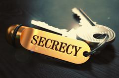 Secrecy written on Golden Keyring - stock illustration